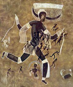 4. Running horned woman. Tassili n'Ajjer, Algeria. 6000–4000 B.C.E. Pigment on rock.