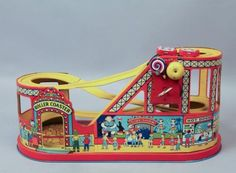 Vintage-1930s-40s-J-Chein-Co-Tin-Litho-Working-Wind-Up-Roller-Coaster-Toy