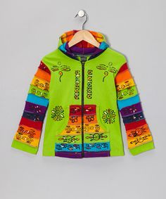 Look at this #zulilyfind! Green Rainbow Zip-Up Hoodie - Toddler & Girls by Rising International #zulilyfinds