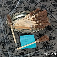 Witchs Broom Pens Make these out of pencils to use as invites. Fly on Over? Let's Get Wicked? Come for a Spell?