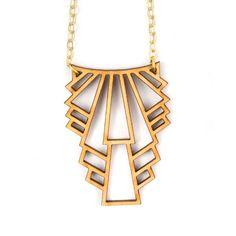 Laser cut wood necklace art deco style Joyo #lasercut #jewelry #necklace #artdeco
