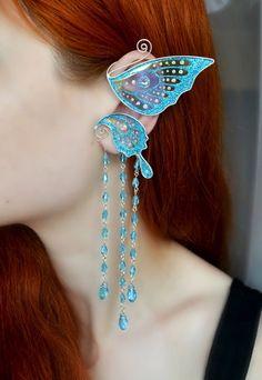 Butterfly wing ear cuff with chains * Ear wrap * Fairy ear cuff * Ear cuff with chains * Fairy earwr Ear Jewelry, Cute Jewelry, Jewelery, Jewelry Making, Unique Jewelry, Helix Earrings, Chain Earrings, Elf Ear Cuff, Ear Cuffs