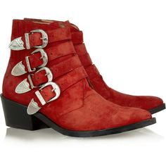 Toga Buckled suede ankle boots ($155) ❤ liked on Polyvore featuring shoes, boots, ankle booties, red, ankle boots, suede bootie, buckle ankle boots, red suede boots, red ankle boots and pointed toe ankle boots
