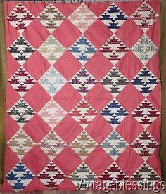 "Superb Fabrics! ANTIQUE c1880s QUILT TOP Indigo Blue Double Pink 91x75"""
