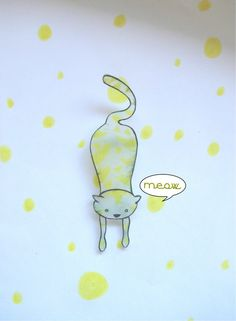 handmade cat brooch shrink plastic yellow meow by Hoppala on Etsy, $12.00