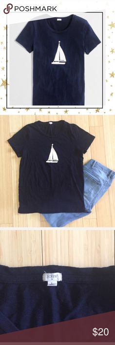 J.Crew Sailboat Graphic Tee (H23Q8C) Navy blue t-shirt . 100 % cotton , short sleeve. In good condition J. Crew Tops Tees - Short Sleeve