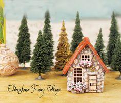 Elvenstone Cottage  Miniature Fairy House with por bewilderandpine, $42.00