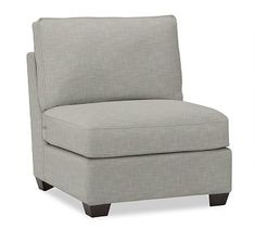 Buchanan Upholstered Armless Chair, Polyester Wrapped Cushions, Premium Performance Basketweave Light Gray