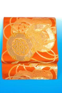 Kimono Dress Japan OBI Band used Fukuro Geisha band Orange Vintage KMDJ-L0027
