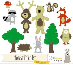 Woodland Clipart Forest Animals Stitched by LittleLlamaShoppe
