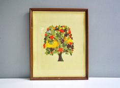 Vintage Framed Tree Crewel Wall Hanging - Birds in a Tree