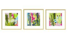 Watercolor Abstract Art Print Set Set of 3 by LimezinniasDesign