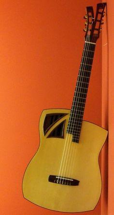 """Alector Guitars """"Belle de Jour"""" 2115 – 1 of 2 Unique Guitars, Vintage Guitars, Jazz Guitar, Cool Guitar, Guitar Outline, Ukulele Stand, Rick E, Guitar Collection, Guitar Building"""