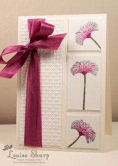 Stamp Sets: Reason To Smile, Thank you Kindly     Accessories: Seam Binding Ribbon, Stampin' Write Markers, Blender Pen, Water Colour Paper,     Embossing Folder: Square Lattice     Colour Combination: Very Vanilla, Rose Red