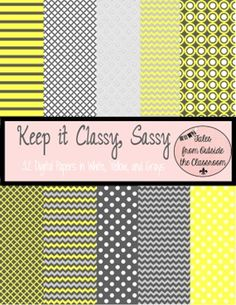 Digital Paper Pack- Keep It Classy Sassy- 32 digital papers in white, yellow, and grays