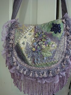 I ❤ crazy quilting . Gorgeous Lavender Boho Bag- I dyed Bullion fringe with… Handmade Purses, Handmade Handbags, Look Vintage, Shabby Vintage, Crazy Patchwork, Crazy Quilting, Gypsy Bag, Purple Purse, Lavender Purse