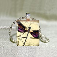 Scrabble Jewelry  Pendant  Dragonfly 20  by MaDGreenCreations, $7.49
