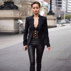 Micah Gianneli blurring the lines between inner and outer wear - Rocking our Vixen bodysuit street style | SJ Lingerie