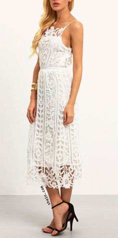 Ivory cream crochet lace cami dress, hollow out Lace cami dress. street chic.