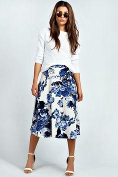 Mia Floral Print A Line Midi Skirt