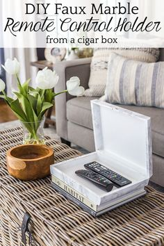 Unique Home Decor How to wrap a cigar box with contact paper to repurpose into a decorative remote control holder for a coffee table. Decor, Dining Table Makeover, Redo End Tables, Cheap Home Decor, Home Decor, Table Decorations, Decorating Coffee Tables, Coffee Table Makeover, Remote Control Holder