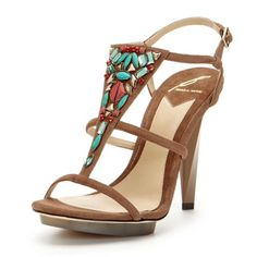 """Brian Atwood Donosa T Strap Jeweled Sandals • Heel Gorgeous tan suede heels with turquoise embellishments on the vamp!  Suede goatskin leather upper Jewel embellished vamp Buckle closure at ankle strap Painted wooden heel and rubber island platform Leather insole and sole Heel height: 4.5"""" Platform height: 0.5""""   Brand New! Comes with box, dust bag, & additional heel replacement tips! B Brian Atwood Shoes"""