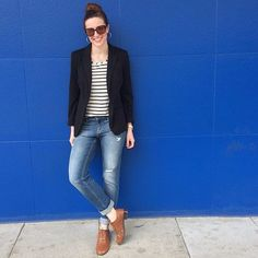 Deconstructed jeans, striped shirt, blazer, and thrifted brogues. @theladyprofessor on Instagram