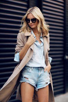 Wearing: Sportscraft Trench, Madewell Chambray Shirt, Mango denim shorts (similar here), Chanel...