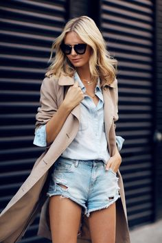 Wearing: Sportscraft Trench, Madewell Chambray Shirt, Mango denim shorts (similar here), Chanel...