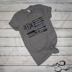 POLICE WIFE - Monogram Thin Blue Line Arrow Flag - Boyfriend Fit V-Neck Tee