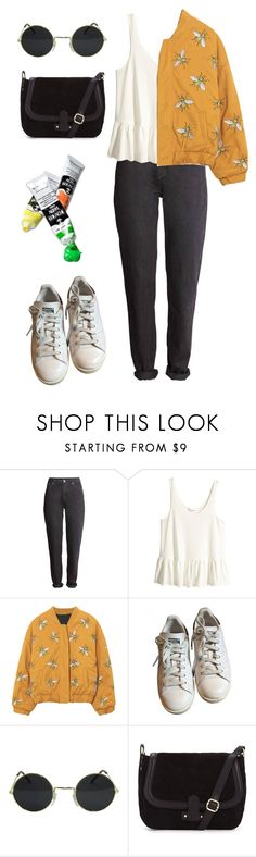 """Bee Happy"" by hey-im-macie ❤ liked on Polyvore featuring H&M, adidas, vintage, indie, retro and aesthetic"