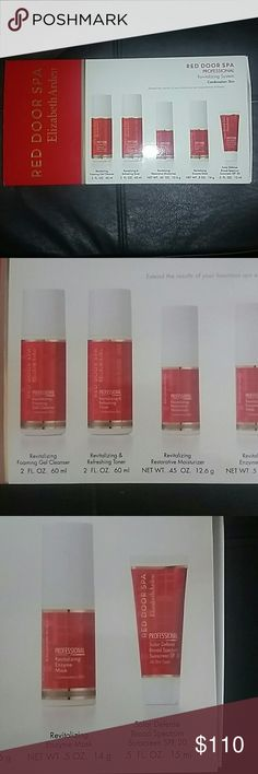 🆕Complete Facial Set - Red Door Elizabeth Arden New, Sealed Complete Facial System! Step by Step Gel Cleanser, Toner, Moisturizer, Enzyme Mask and Sunscreen.  For Combination Skins like many of us have!  Complete list of product description in Pics #3 & 4. Elizabeth Arden Makeup
