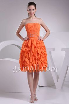 A-line Party Dresses Strapless Knee Length Chiffon Orange 05001010024