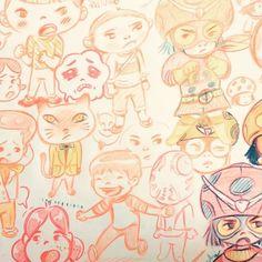 Doodle time.  #play #draw #doodle #illust #illustration #pencilcolor #littleboy #ilttlegirl #cartoon #video #paperreuse