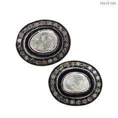 925 Sterling Silver Genuine Rose Cut Diamond Stud Earrings 14k Gold Fine Jewelry #raj_jewels #Stud