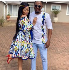 LATEST AFRICAN STYLES: All the shweshwe dresses you see here are all in all hand made,so not available to buy wherever Couples African Outfits, Latest African Fashion Dresses, African Dresses For Women, African Print Dresses, African Print Fashion, Africa Fashion, African Attire, African Style Clothing, Couple Outfits