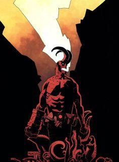 "technochaun: ""Hellboy,Wake the Devil cover art by Mike Mignola. Comic Book Artists, Comic Book Characters, Comic Artist, Comic Character, Comic Books Art, Comic Book Style, Character Concept, Akira, Mike Mignola Art"