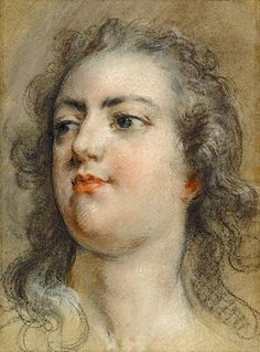 Head of King Louis XV (at 19) Francois Le Moyne ca. 1729. Black chalk and pastel.