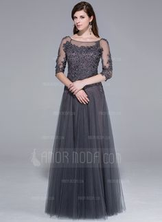 Special Occasion Dresses - $192.99 - A-Line/Princess Scoop Neck Floor-Length Tulle Evening Dress With Lace Beading (017025440) http://amormoda.com/A-line-Princess-Scoop-Neck-Floor-length-Tulle-Evening-Dress-With-Lace-Beading-017025440-g25440