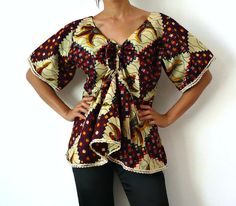 French Vintage African Print Blouse by bOmode on Etsy