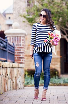 cute & little | dallas petite fashion blog | asymmetrical stripe ruffle pepum top, distressed jeans, steve madden carrson pink velvet strappy sandals, minkoff love crossbody | spring outfit