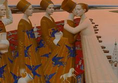 Russian artist Andrey Remnev creates unique artworks that combine traditional style paintings with contemporary themes.  More art on the grid via Hi-Fructose