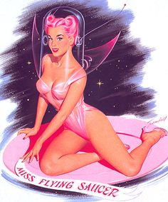 Miss Flying Saucer Pink Pinup art by Bill Randall