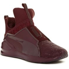PUMA Fierce KRM High Top Sneaker (235 RON) ❤ liked on Polyvore featuring shoes, sneakers, red, red shoes, puma trainers, red high top shoes, slip on shoes and red hi top sneakers