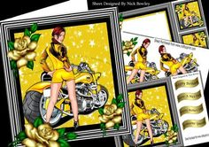 Biker Babe in hot pants with lowrider drag bike 8x8 mini kit on Craftsuprint - Add To Basket!