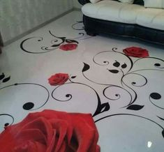Another one... Just beautiful! A Red Rose and Black stemmed concrete stained floor.