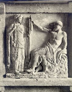 Matrimonio de Zeus y Hera, s V a.C. Metopa del Heraión de Selinunte, Palermo, Museo Arqueol. Regional