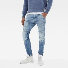 G-Star Raw 5620 G-Star Elwood 3d Slim Jeans (715 BRL) ❤ liked on Polyvore featuring men's fashion, men's clothing, men's jeans, mens slim jeans, mens button fly jeans, mens denim jeans, mens slim fit jeans and mens slim cut jeans