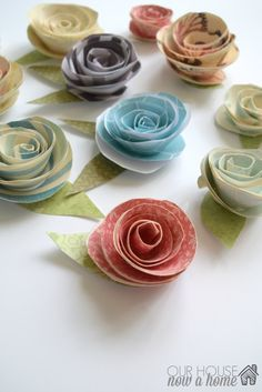 paper flowers with WM, Paper flowers video tutorial, a simple way to use paper and bring a little Spring cheer to your home. Full tutorial and video for this DIY craft. To see more visit- http://www.ourhousenowahome.com/