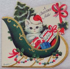 1205 50s Unused Rust Craft Marjorie Cooper Santa Cat Vtg Christmas Card | eBay